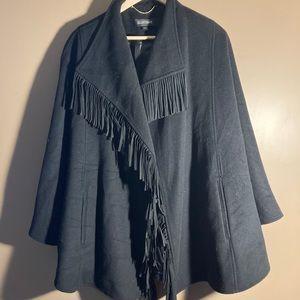 Ellen Tracy fringes wool blend black cape
